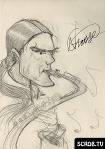 Signed Caricature Sketch of Nathan Crosse by SCROB