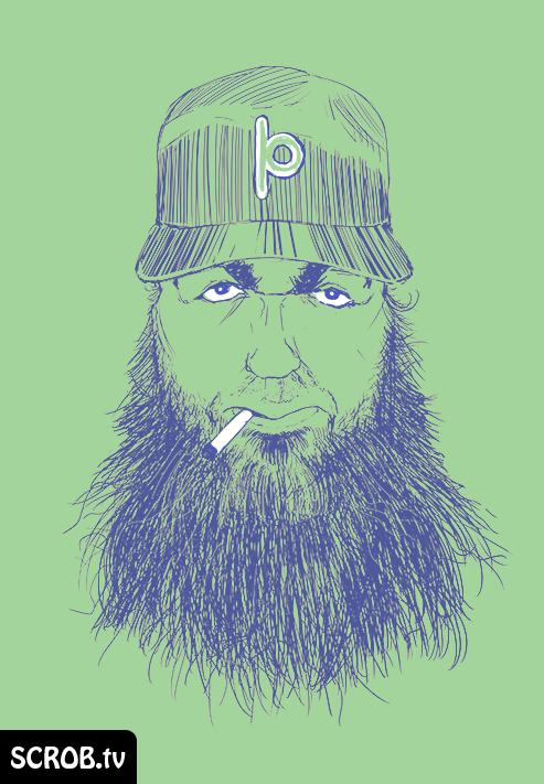 Comic Style portrait drawing of Detroit Rapper Jason Porter smoking a cigarette